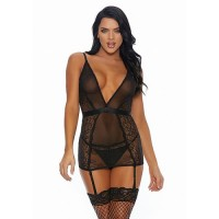 Forplay - A Sheer Thing - Chemise Suspender - Sort