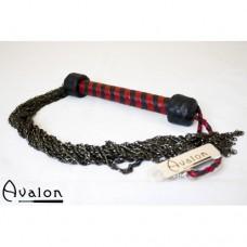 Avalon - Flogger i kjetting og lær - Rød og sort