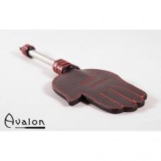Avalon - Paddle med håndform og metallhåndtak med D-ring - Sort og rød