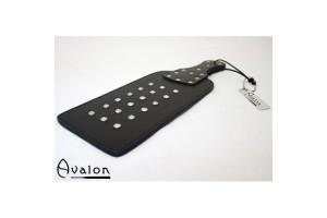 Avalon - Bred paddle med nagler i sal-lær - Sort