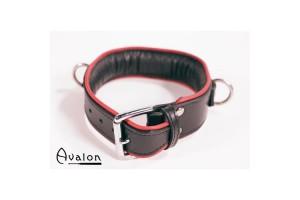 Avalon - Enkel Collar med D-ringer og polstring, Sort og Rød