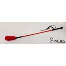 Avalon - Ridepisk med pels flipp - Rød