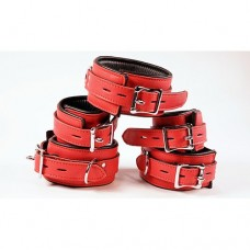 Avalon - Collar og Cuffs 5 deler rød