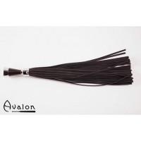 Avalon - Sort lær flogger kjegleformet metallhåndtak