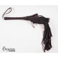 Avalon - Sort Lær flogger med gradert loop strimler