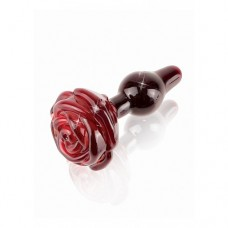 ICICLES No.76 - Rød Buttplug av Glass med rose