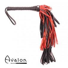 Avalon - CHIMERA - Sort og Rød Lærflogger med Graderte Loopstrimler