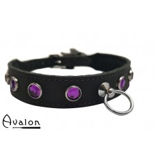 Avalon - DEVOTION - Collar med lilla runde Stener og O-ring